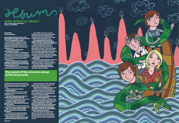 Plan B Magazine Issue 46 feature - Sonic Youth. Art direction and design by Andrew Clare, illustration by Lauren Minco