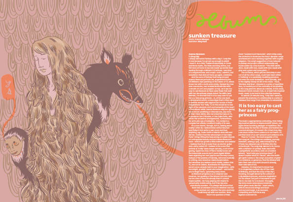 Plan B Magazine Issue XX feature - Joanna Newsom. Art direction and design by Andrew Clare, illustration by Meg Hunt